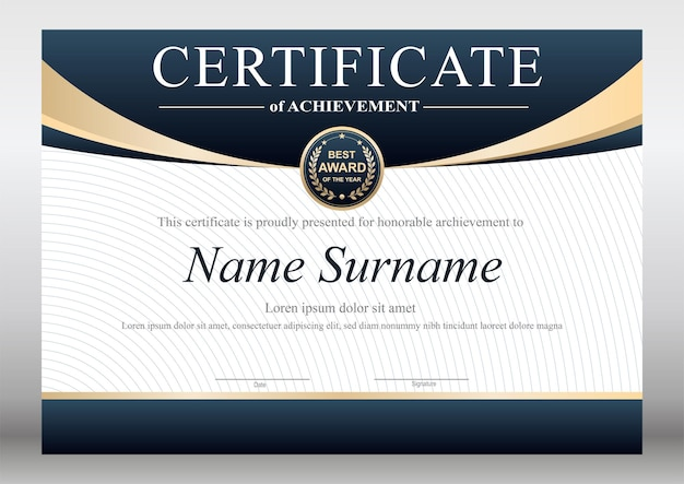Blue and gold certificate design template