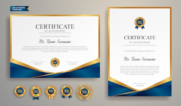 Blue and gold certificate with badge and border   a4 template Premium Vector
