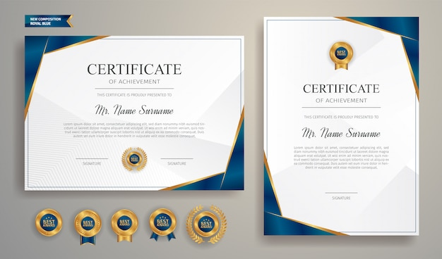Blue and gold certificate with badge and border vector a4 template.