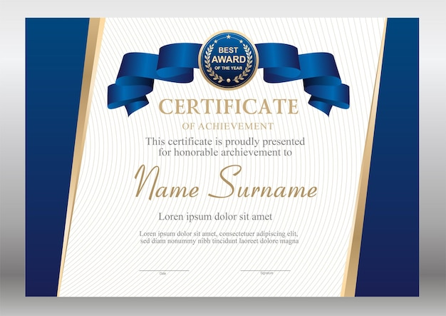 Blue and gold certificate with ribbon template