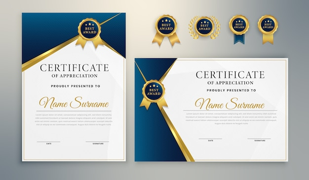 Blue gold elegant award certificate template