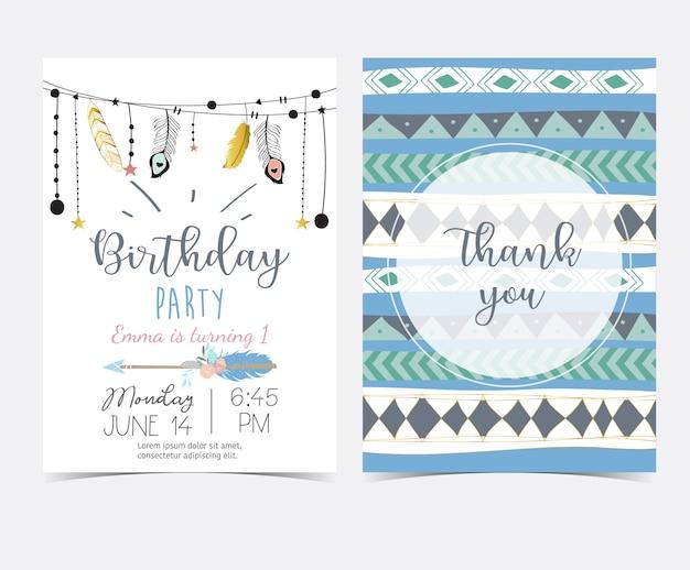 블루 골드 손 깃털과 화살표와 함께 귀여운 카드를 그려. 고맙습니다