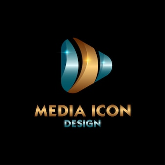 Blue and gold media logo