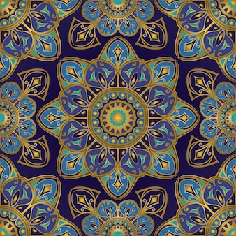 Blue and gold oriental pattern with mandalas.