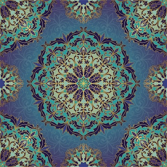 Blue and gold pattern with mandalas.