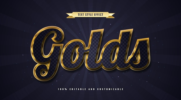 Blue and gold text style with embossed and glitter effect. editable text effect