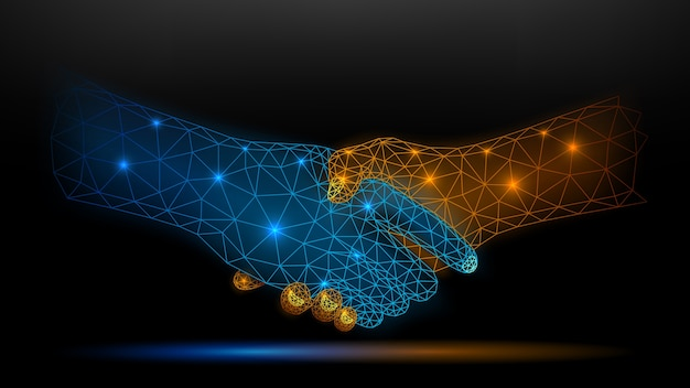 Blue and gold wireframe glowing handshake on dark background, partnership and trust concept.  illustration