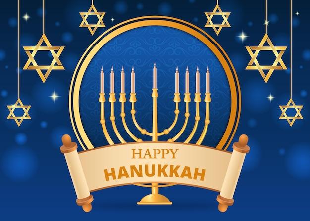Blue and golden hanukkah