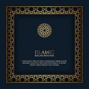 Blue and golden islamic background decorative ornament frame with copy space for text