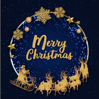 Blue and golden merry christmas greeting card