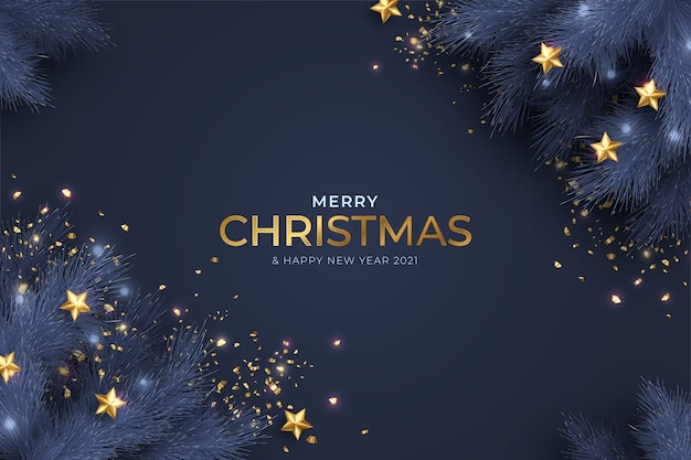 Blue and golden merry christmas and new year card with realistic decoration