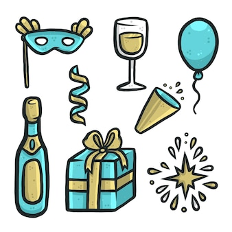 Elementi di festa di capodanno blu e dorato