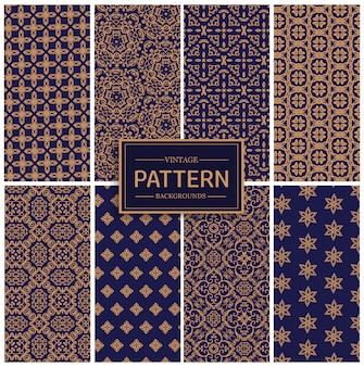 Blue and golden seamless luxury pattern collection