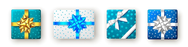 リボンと弓の上面図クリスマス新年パーティーとブルーゴールデンシルバーギフトボックス