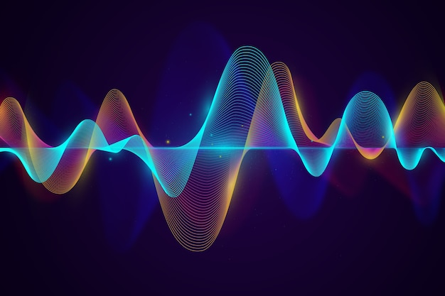 Blue and golden sound waves background