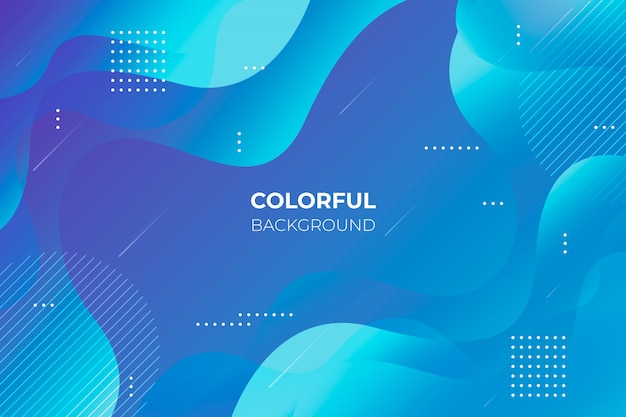 Blue gradient background with abstract shapes