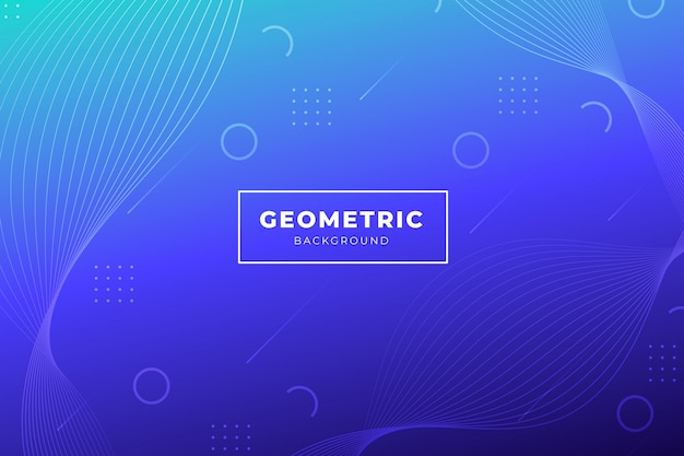 Blue gradient background with geometric shapes