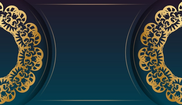 あなたのロゴの下にデザインのための抽象的な金の飾りと青いグラデーションバナー