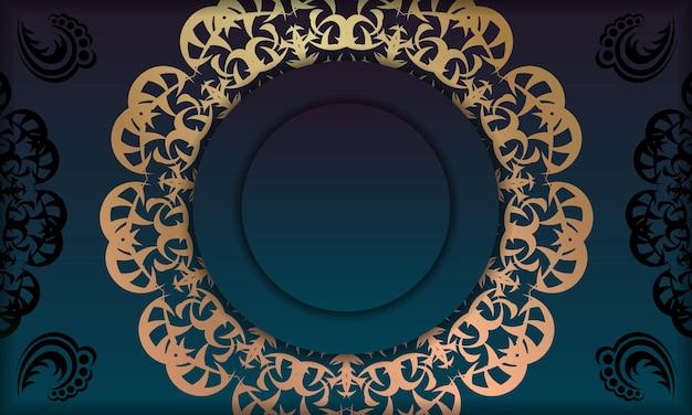ロゴまたはテキストの下のデザインの抽象的な金のパターンと青いグラデーションバナー
