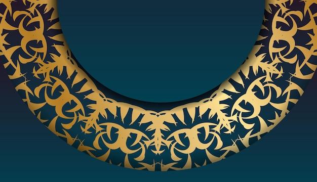 あなたのロゴの下にデザインのための抽象的な金のパターンと青いグラデーションバナー