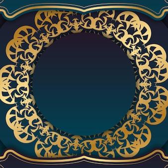あなたのロゴの下のデザインのためのギリシャの金の飾りと青いグラデーションバナー