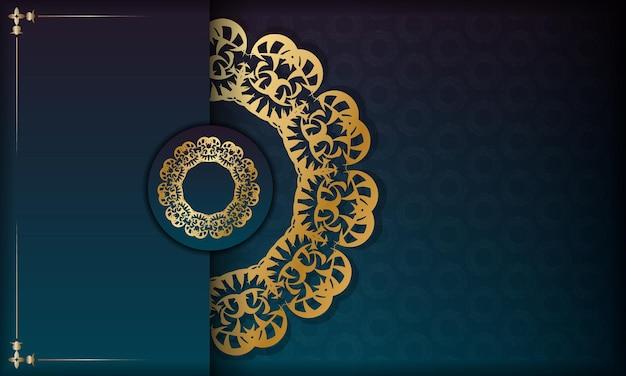 ギリシャの金のパターンとロゴやテキストのためのスペースと青いグラデーションバナー