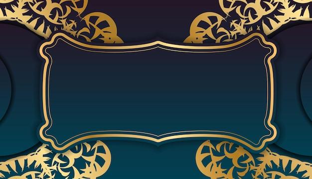 あなたのロゴの下のデザインのためのギリシャの金のパターンと青いグラデーションバナー