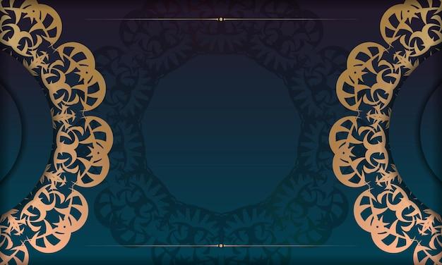 ロゴやテキストデザインのギリシャの金のパターンと青いグラデーションバナー