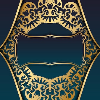 Blue gradient banner with indian gold ornament for design under your logo
