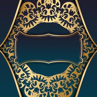 あなたのロゴの下のデザインのためのインドの金の飾りと青いグラデーションバナー