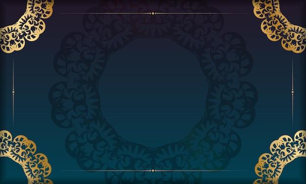 ロゴまたはテキストの下のデザインのためのインドの金のパターンと青いグラデーションバナー