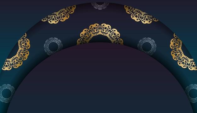 あなたのロゴの下のデザインのためのインドの金のパターンと青いグラデーションバナー
