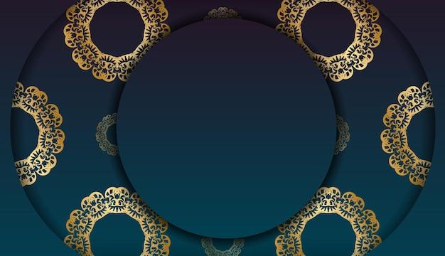 あなたのロゴの下のデザインのための豪華な金色の飾りと青いグラデーションバナー