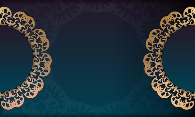 ロゴやテキストデザインの豪華なゴールドパターンの青いグラデーションバナー