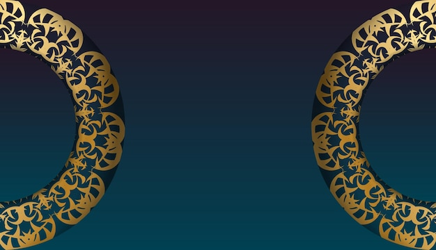 Blue gradient banner with mandala gold ornament for design under your logo