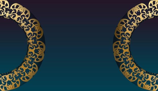 あなたのロゴの下のデザインのための曼荼羅の金の飾りと青いグラデーションバナー