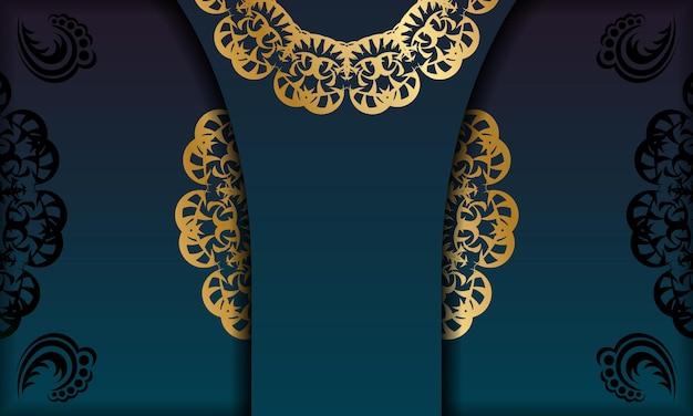 ロゴまたはテキストの下のデザインの曼荼羅ゴールドパターンと青いグラデーションバナー