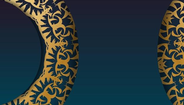 Blue gradient banner with vintage gold ornament for design under your logo