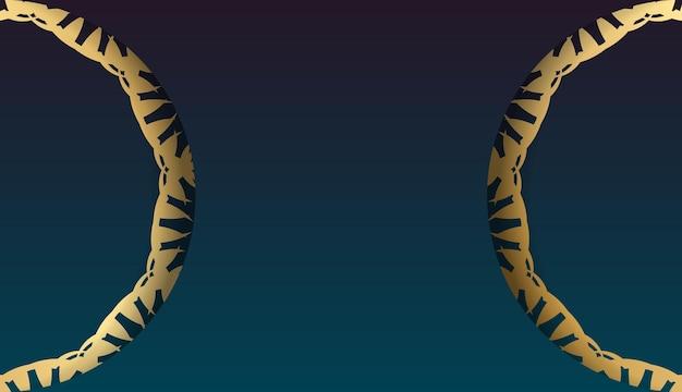 あなたのロゴの下にデザインのためのヴィンテージゴールドの飾りと青いグラデーションバナー