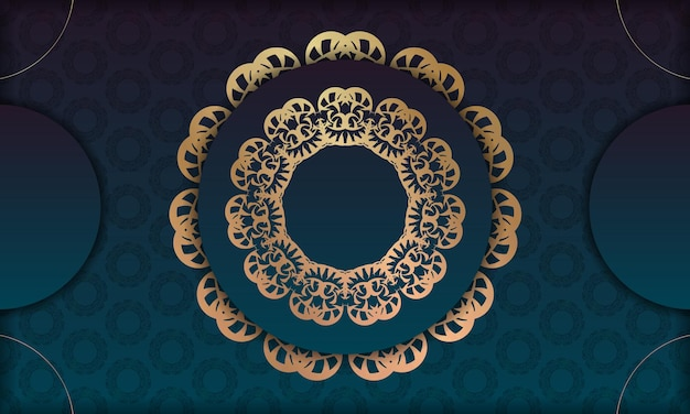ロゴやテキストデザインのヴィンテージゴールド飾りと青いグラデーションバナー