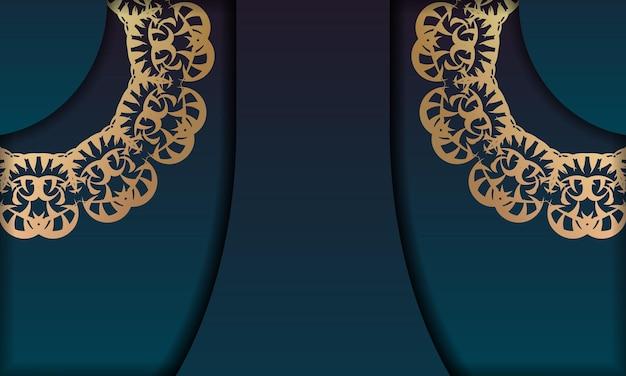 ロゴまたはテキストの下のデザインのヴィンテージゴールドパターンと青いグラデーションバナー