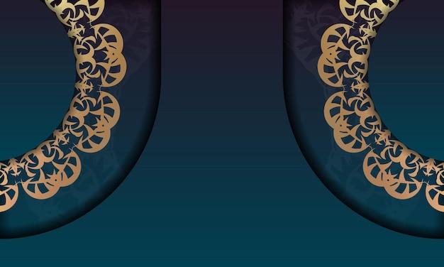 ロゴやテキストデザインのヴィンテージゴールドパターンの青いグラデーションバナー
