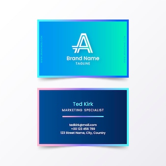 Blue gradient business card template