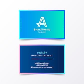 Modello di biglietto da visita sfumato blu