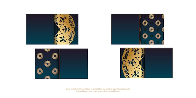 Blue gradient business card with gold mandala pattern for your business.