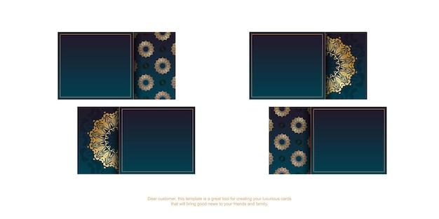 귀하의 비즈니스를 위한 고급 금색 패턴이 있는 파란색 그라데이션 명함.