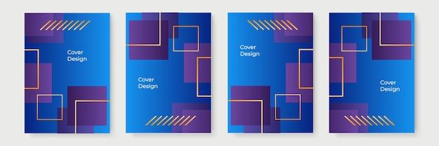 青いグラデーションカバーテンプレート。抽象的なグラデーションの幾何学的なカバーデザイン、流行のパンフレットテンプレート、カラフルな未来的なポスター。ベクトルイラスト