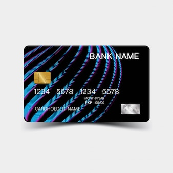 Blue gradient credit card template