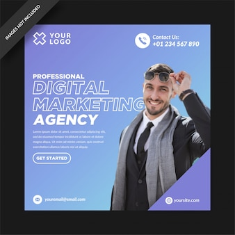 Blue gradient digital marketing social media post instagram