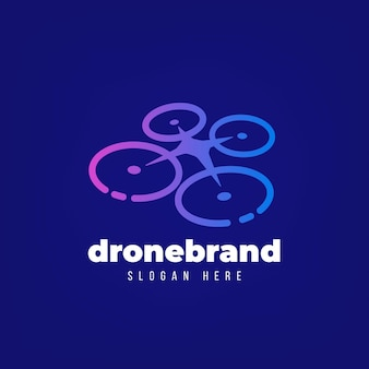 Blue gradient drone logo template
